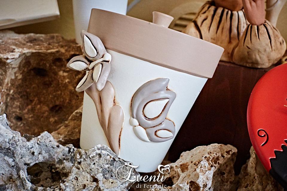 Barattolo in terracotta con decoro farfalle - Ceramiche Artistiche Velier