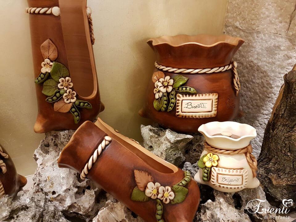 """Biscottiera, portabicchieri, portaspezie, in terracotta linea """"Sacco"""" - Ceramiche Artistiche Velier"""