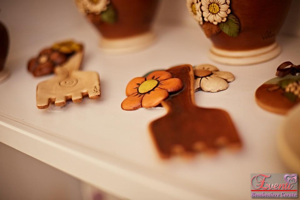Poggiamestolo in terracotta decoro fiori