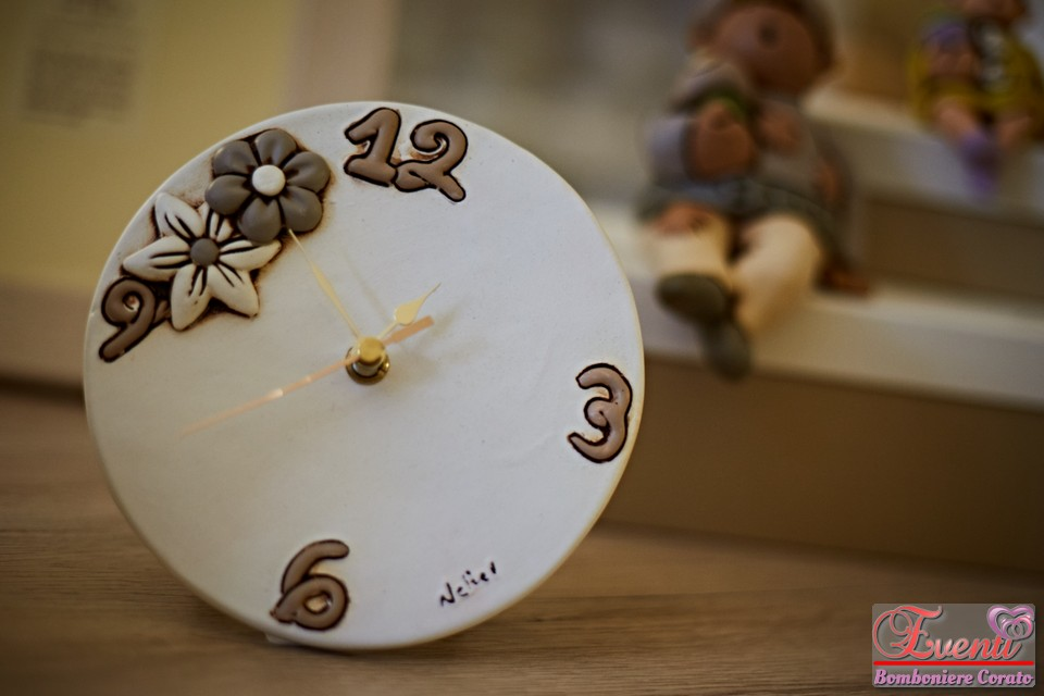 """Orologio da tavolo/parete decoro """"fiori"""" in terracotta"""