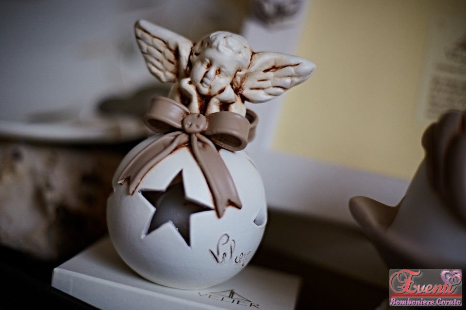 "Portacandela in terracotta ""angelo con sfera"""