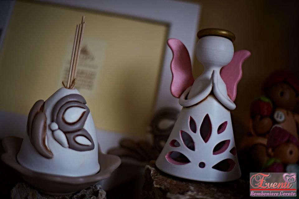 Profumatore coppetta decoro farfalla e angelo traforato in terracotta