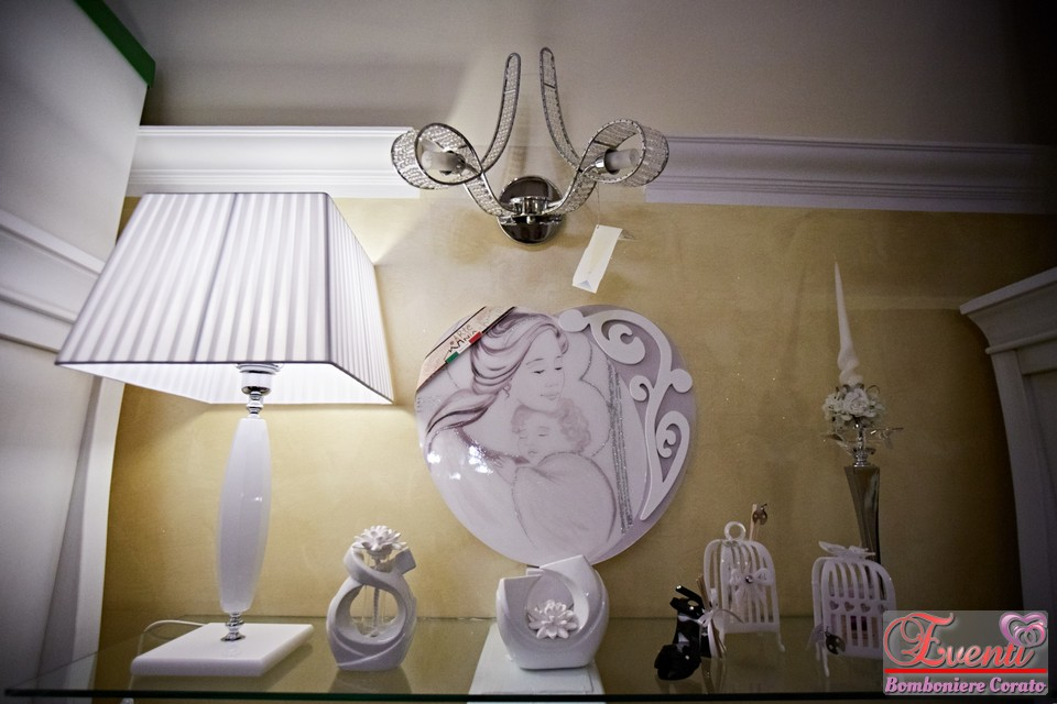 Dettaglio ripiano espositivo illuminato da lampada