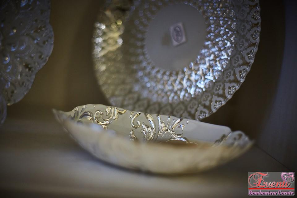 Ciotola in vetro foglia argento/bianco