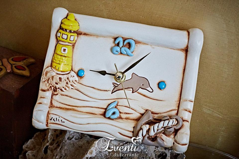 Orologio in terracotta decoro mare - Ceramiche Artistiche Velier