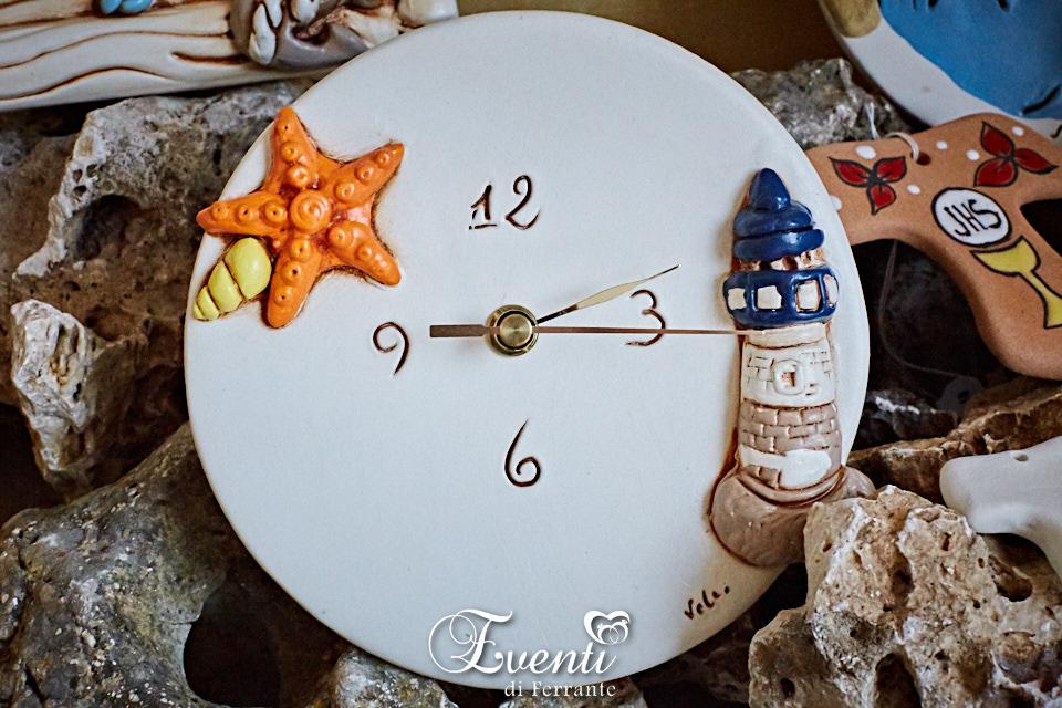 Orologio tondo in terracotta decoro mare - Ceramiche Artistiche Velier