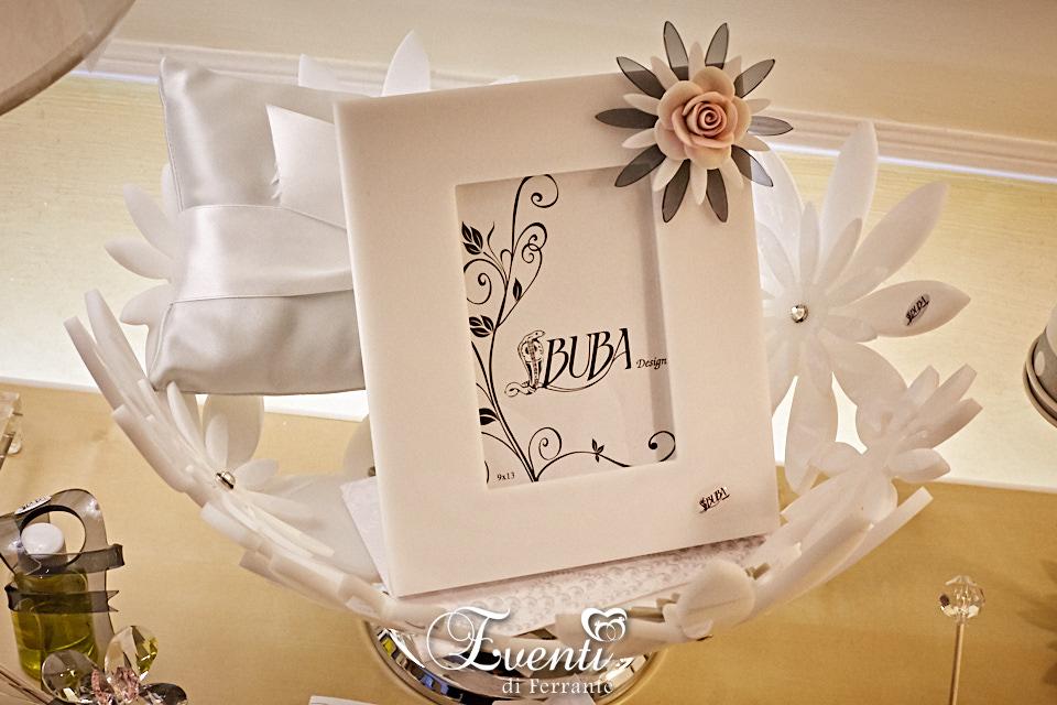 Portafoto in cristallo acrilico con fiore in capodimonte - Buba Design