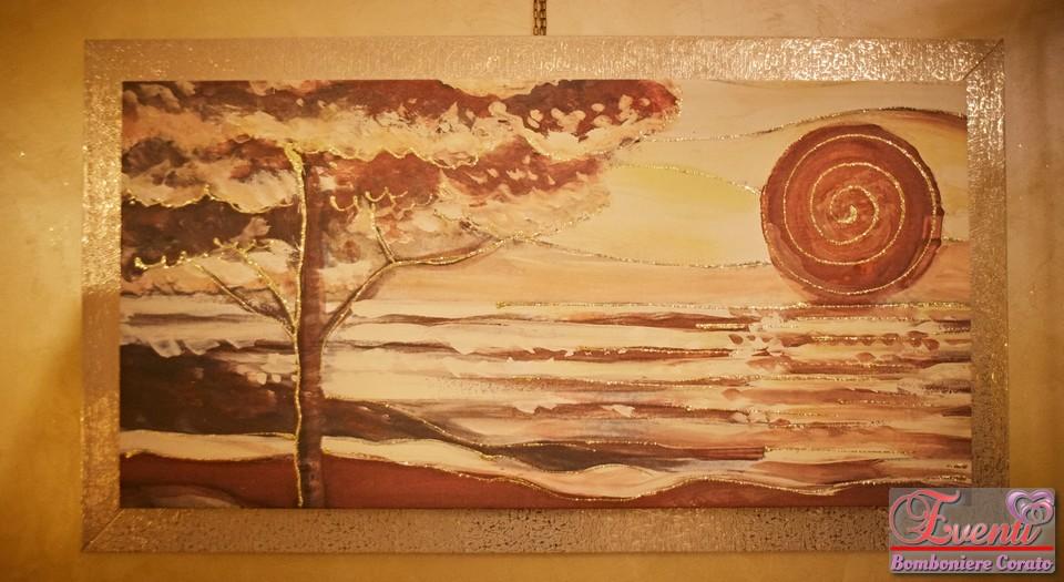 Quadro artigianale soggetto tramonto