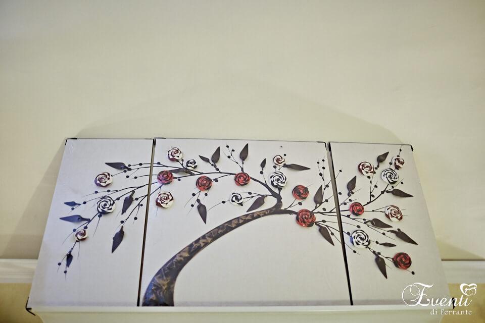 Quadro in pelle tridimensionale ramo di rose - LA BOTTEGA DEGLI ARTISTI