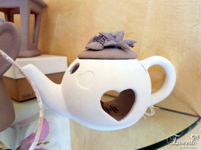 Lanterna teiera in Capodimonte sabbiato tortora - La Capodimonte Chic