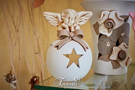 Angioletto in terracotta portacandela - Ceramiche Artistiche Velier