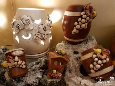 """Barattoli """"botte"""" in terracotta decoro """"uva"""" - Ceramiche Artistiche Velier"""