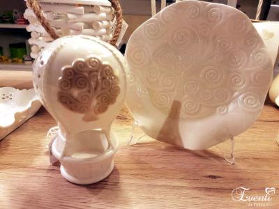 Mongolfiera lanterna e piattino in porcellana con Albero della Vita