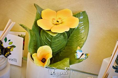 Piantina profumatore in capodimonte con fiore arancio - Gli Alberelli