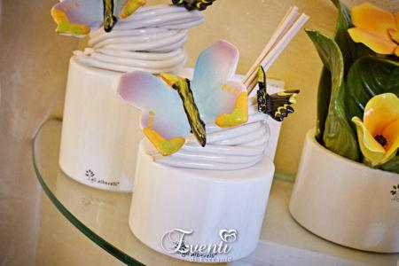 Profumatore in capodimonte con farfalle colorate - Gli Alberelli