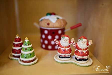 Sale e Pepe in porcellana soggetti Alberelli e Babbo Natale